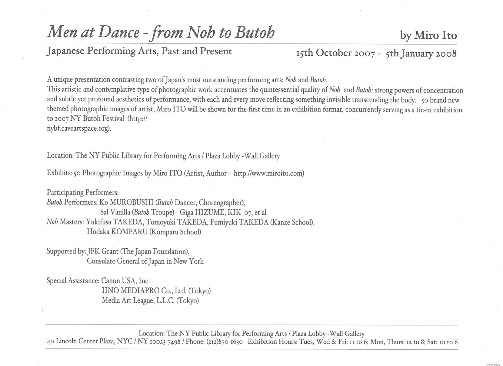 Men at Dance –from Noh to Butoh