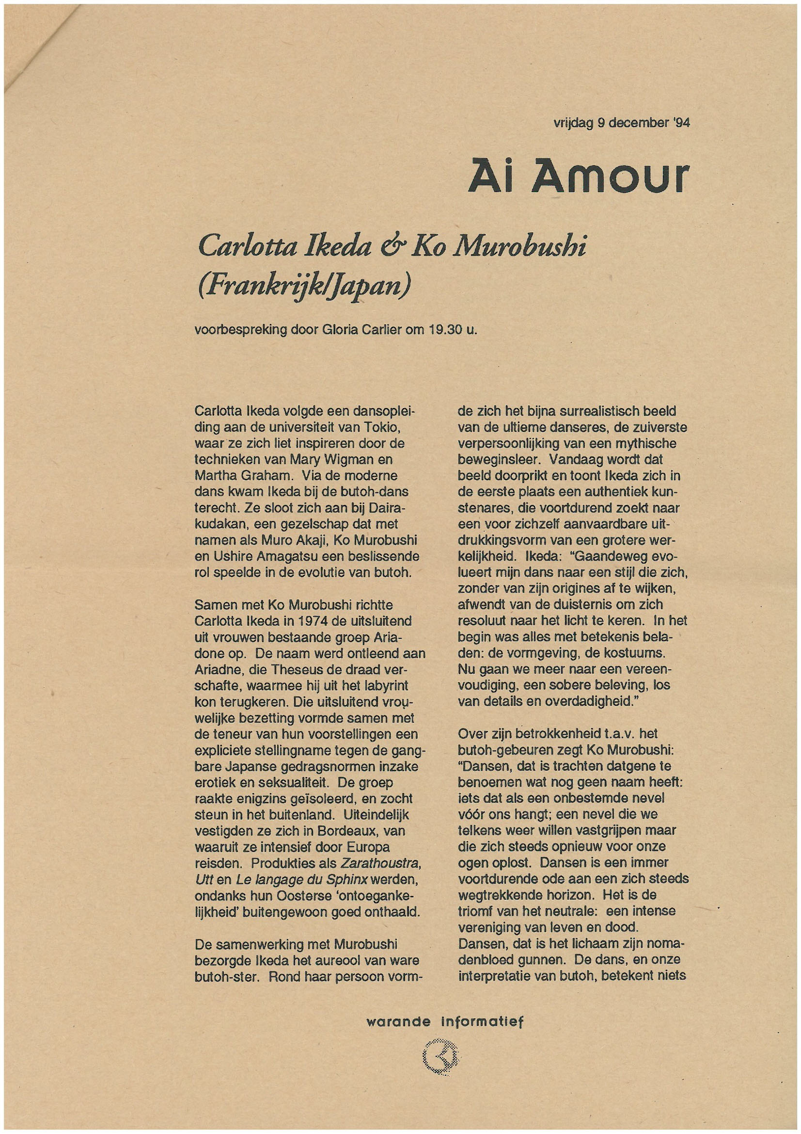 """Ai Amour""[Program, p2]"