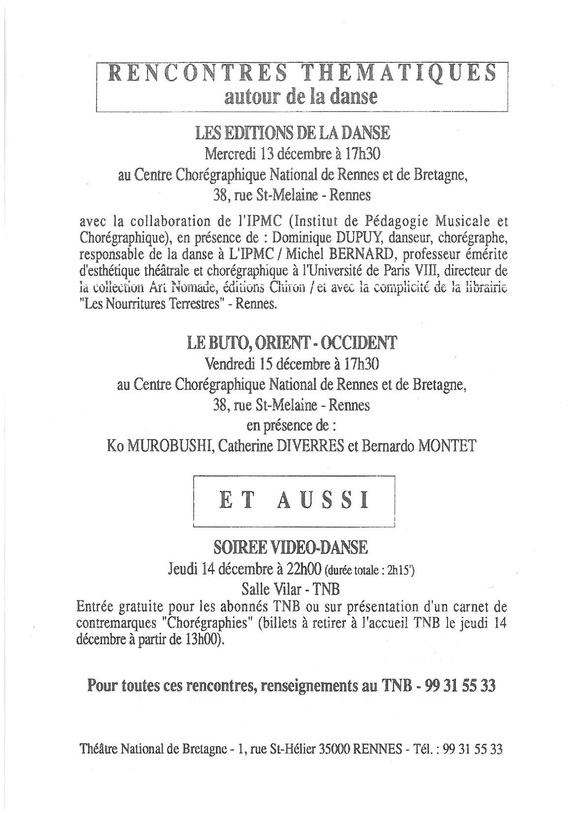 Recontres Thematiques Le Buto, Orient–Occident