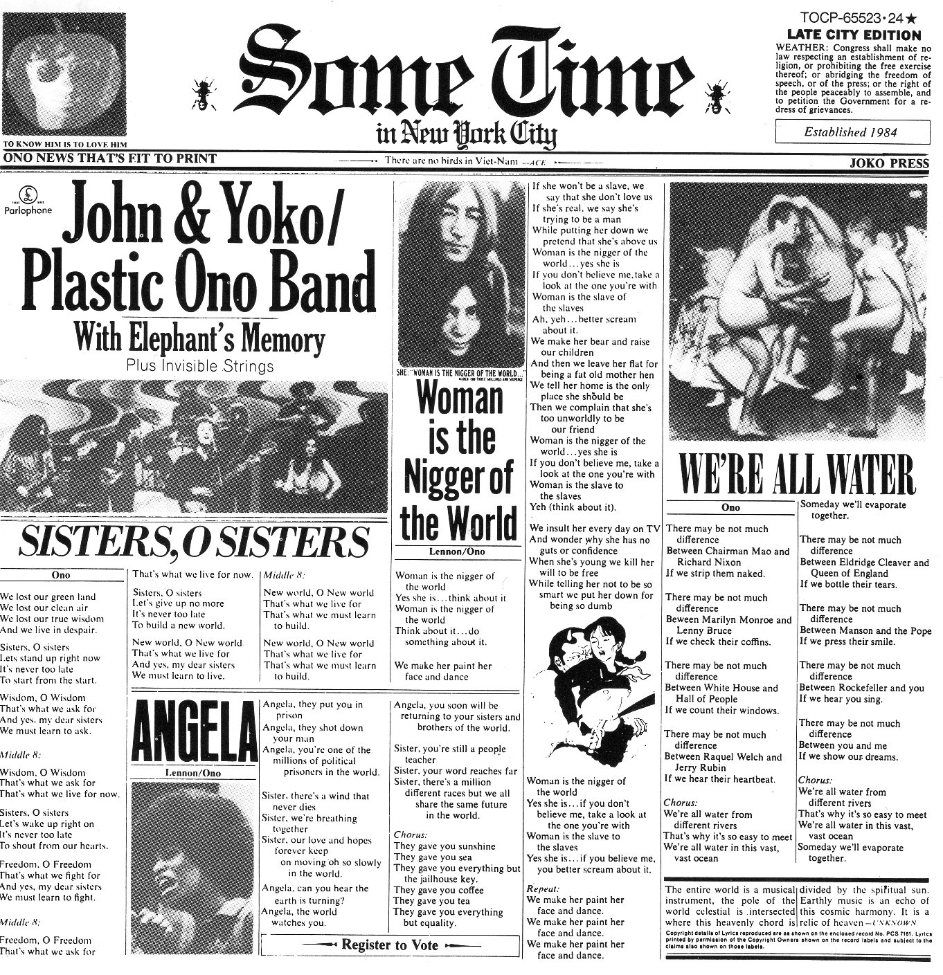 """Sometime in New York City"" John & Yoko/ Plastic Ono Band"