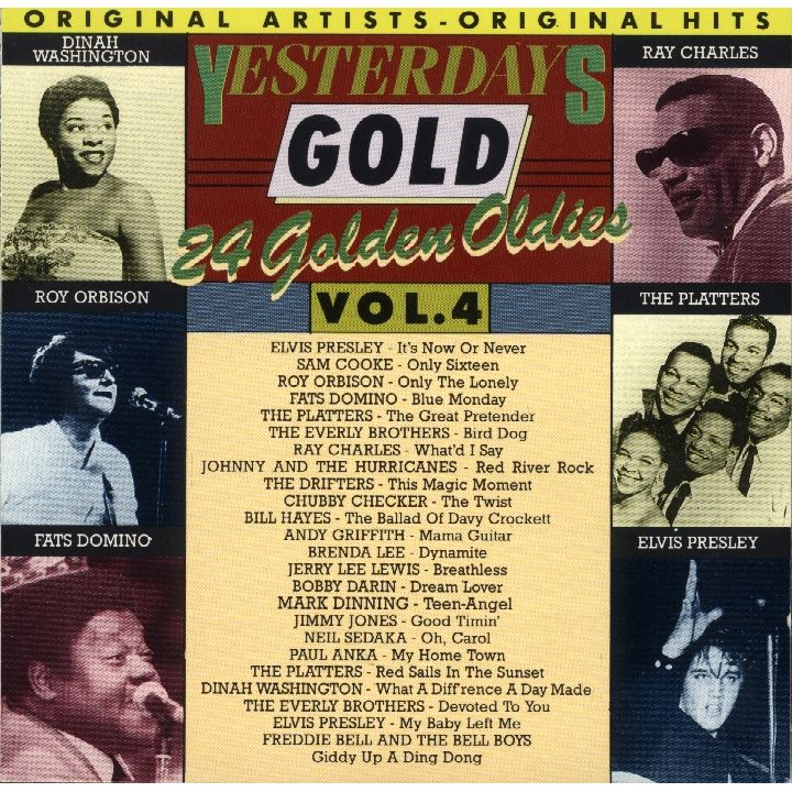"""Yesterday Gold Vol.4 - 24 Golden Oldies"" Brenda Lee, Dinah Washington, Elvis Presley, Jerry Lee Lewis, Neil Sedaka, Paul Anka, Ray Charles, Roy Orbison, Sam Cooke, The Drifters, The Everly Brothers, The Platters"